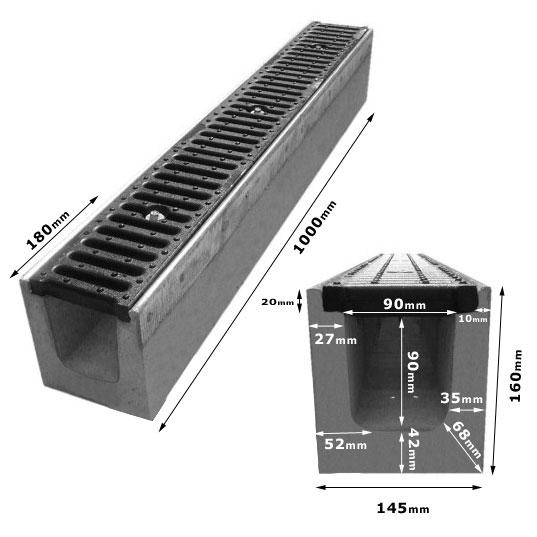 Odwodnienie Liniowe C250 wzmocnione żeliwo