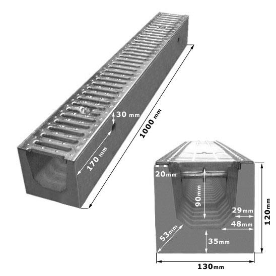 Odwodnienie liniowe Ocynk TL - KL. A15